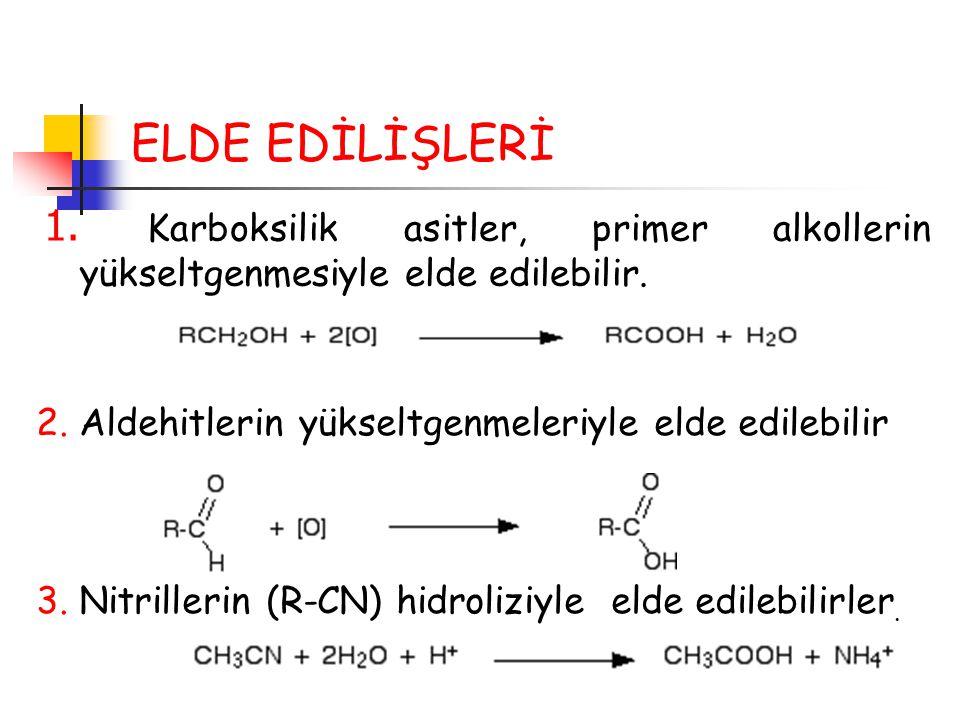 ELDE EDİLİŞLERİ 1. Karboksilik asitler, primer alkollerin yükseltgenmesiyle elde edilebilir. 2. Aldehitlerin yükseltgenmeleriyle elde edilebilir.