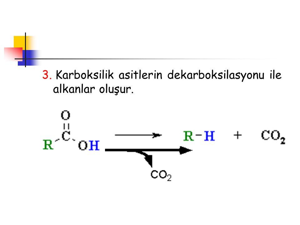 3. Karboksilik asitlerin dekarboksilasyonu ile alkanlar oluşur.