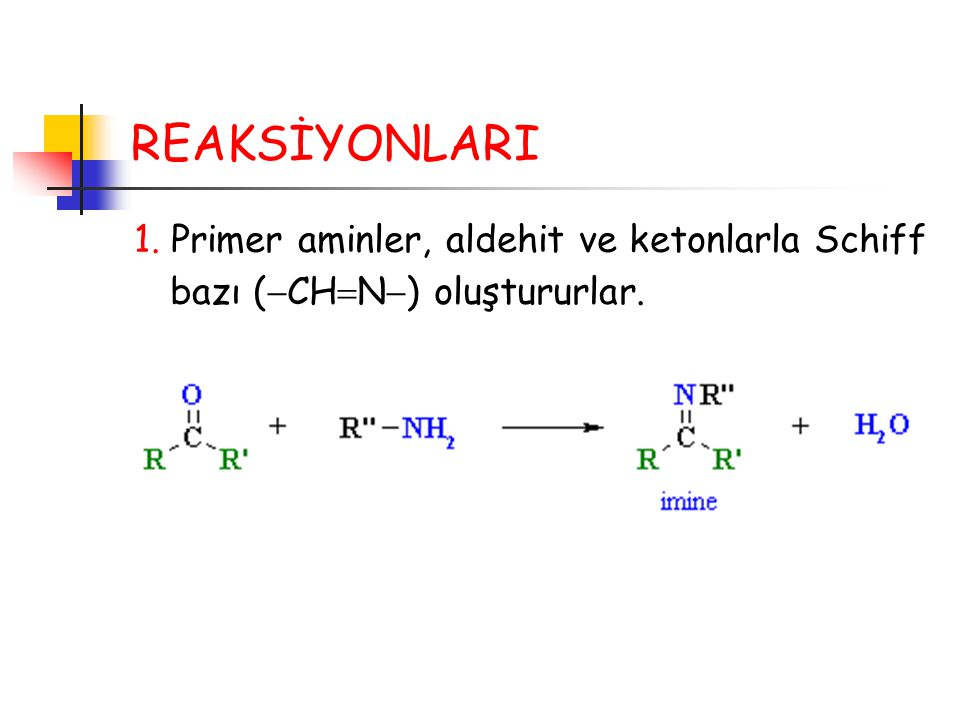REAKSİYONLARI 1. Primer aminler, aldehit ve ketonlarla Schiff bazı (CHN) oluştururlar.