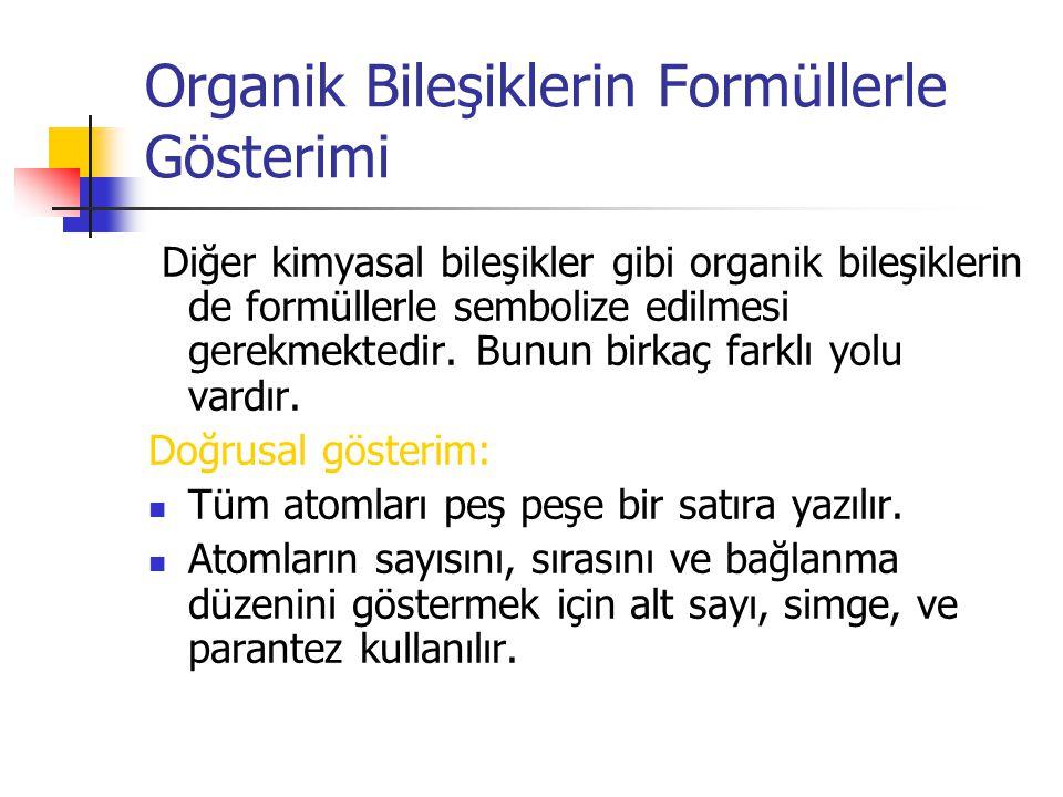Organik Bileşiklerin Formüllerle Gösterimi