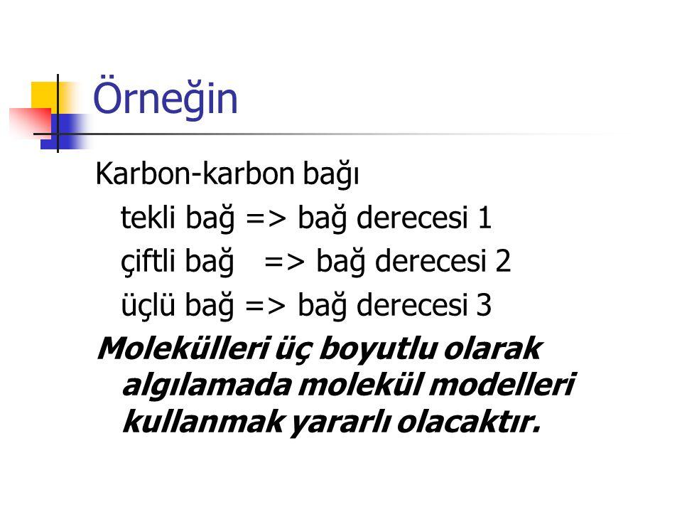 Örneğin Karbon-karbon bağı tekli bağ => bağ derecesi 1
