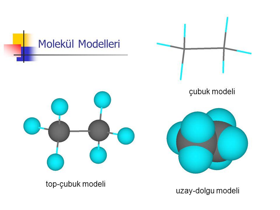 top-çubuk modeli uzay-dolgu modeli çubuk modeli Molekül Modelleri