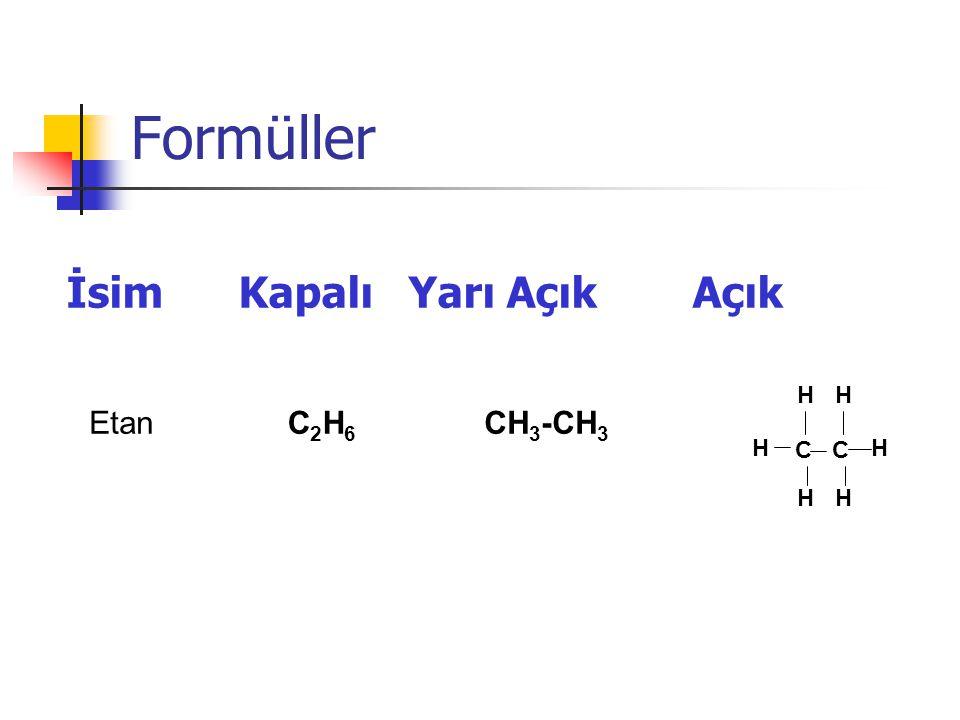 Formüller İsim Kapalı Yarı Açık Açık Etan C2H6 CH3-CH3 H C C
