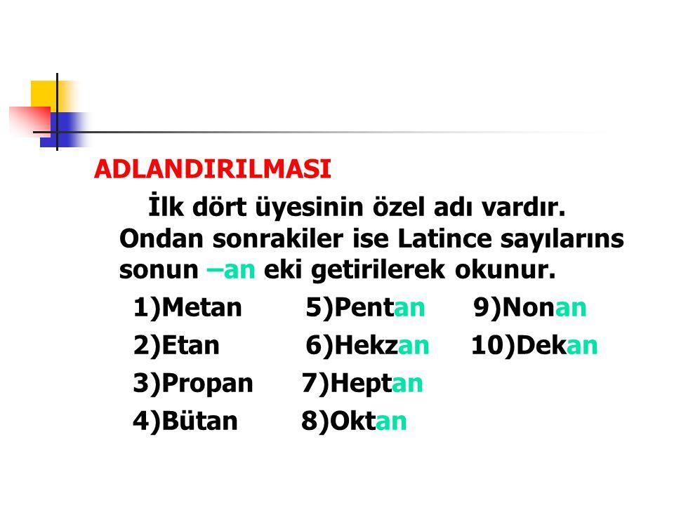 ADLANDIRILMASI İlk dört üyesinin özel adı vardır. Ondan sonrakiler ise Latince sayılarıns sonun –an eki getirilerek okunur.