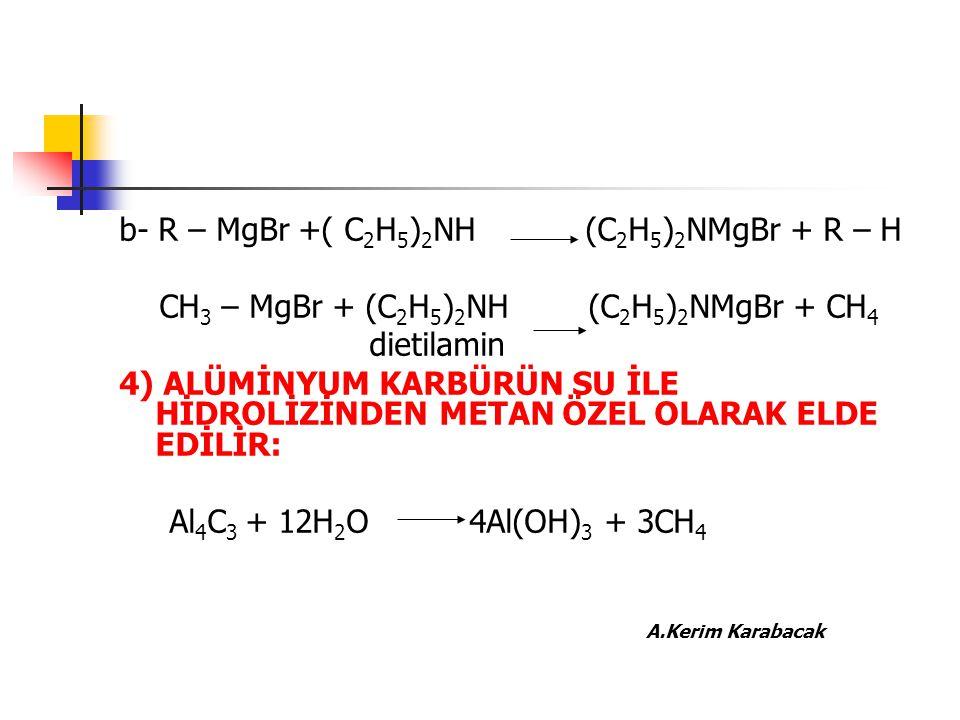 b- R – MgBr +( C2H5)2NH (C2H5)2NMgBr + R – H