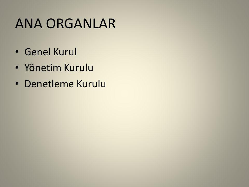 ANA ORGANLAR Genel Kurul Yönetim Kurulu Denetleme Kurulu