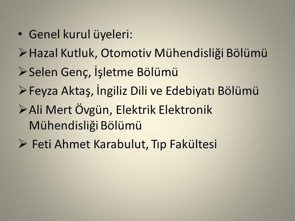 Genel kurul üyeleri: Hazal Kutluk, Otomotiv Mühendisliği Bölümü. Selen Genç, İşletme Bölümü. Feyza Aktaş, İngiliz Dili ve Edebiyatı Bölümü.