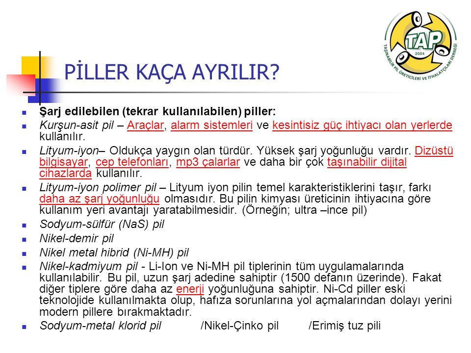 PİLLER KAÇA AYRILIR Şarj edilebilen (tekrar kullanılabilen) piller:
