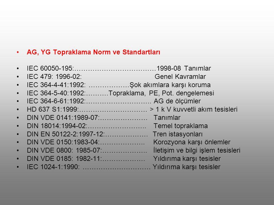AG, YG Topraklama Norm ve Standartları