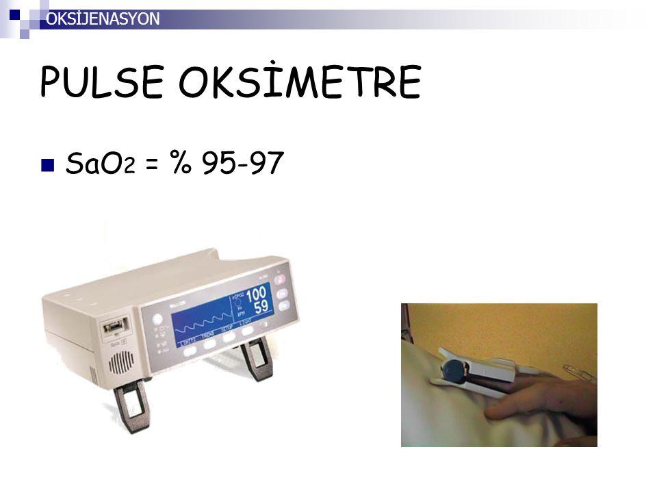 OKSİJENASYON PULSE OKSİMETRE SaO2 = % 95-97