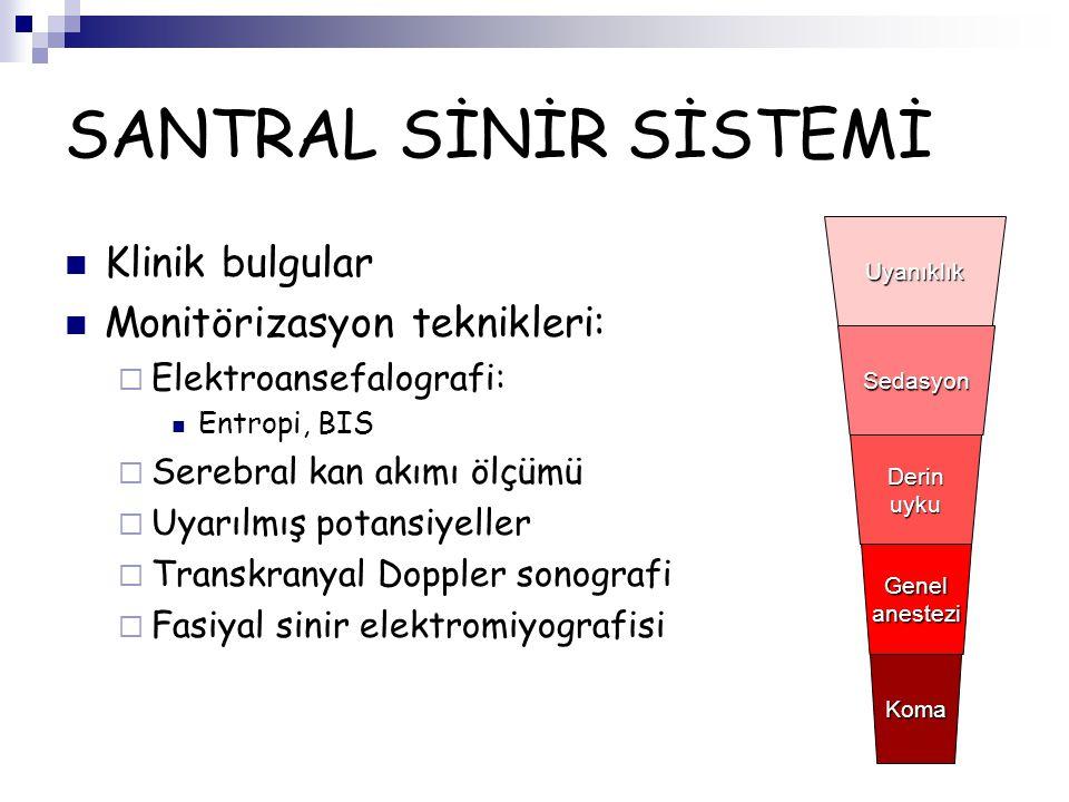SANTRAL SİNİR SİSTEMİ Klinik bulgular Monitörizasyon teknikleri:
