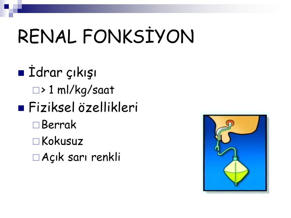 RENAL FONKSİYON İdrar çıkışı Fiziksel özellikleri > 1 ml/kg/saat