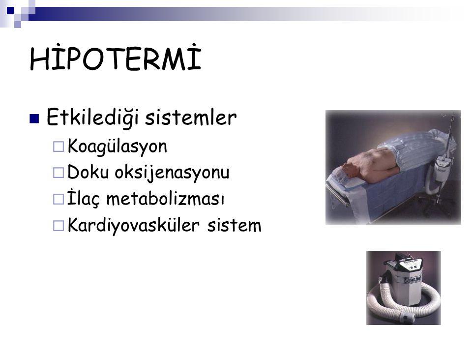 HİPOTERMİ Etkilediği sistemler Koagülasyon Doku oksijenasyonu