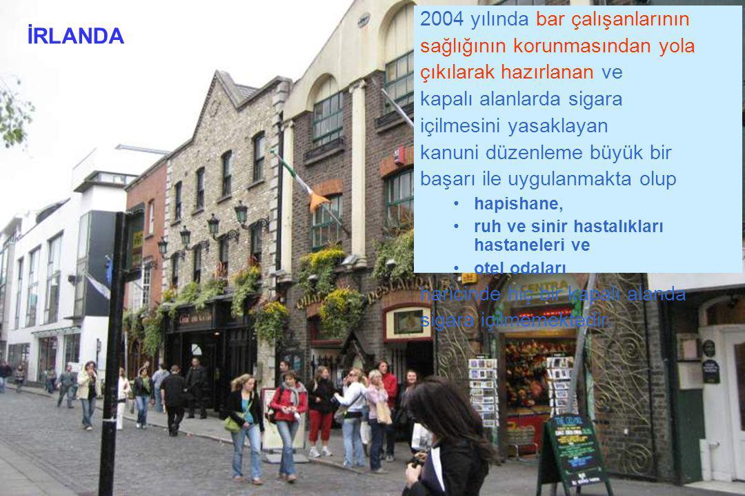 İRLANDA 2004 yılında bar çalışanlarının sağlığının korunmasından yola