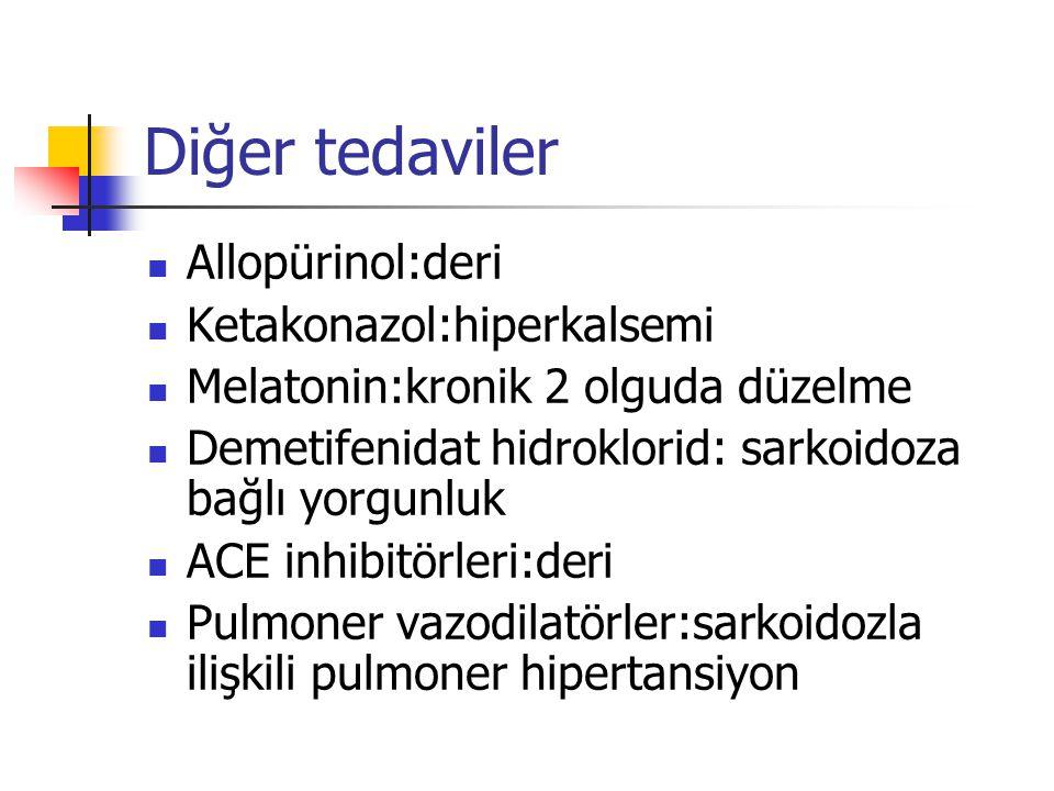 Diğer tedaviler Allopürinol:deri Ketakonazol:hiperkalsemi