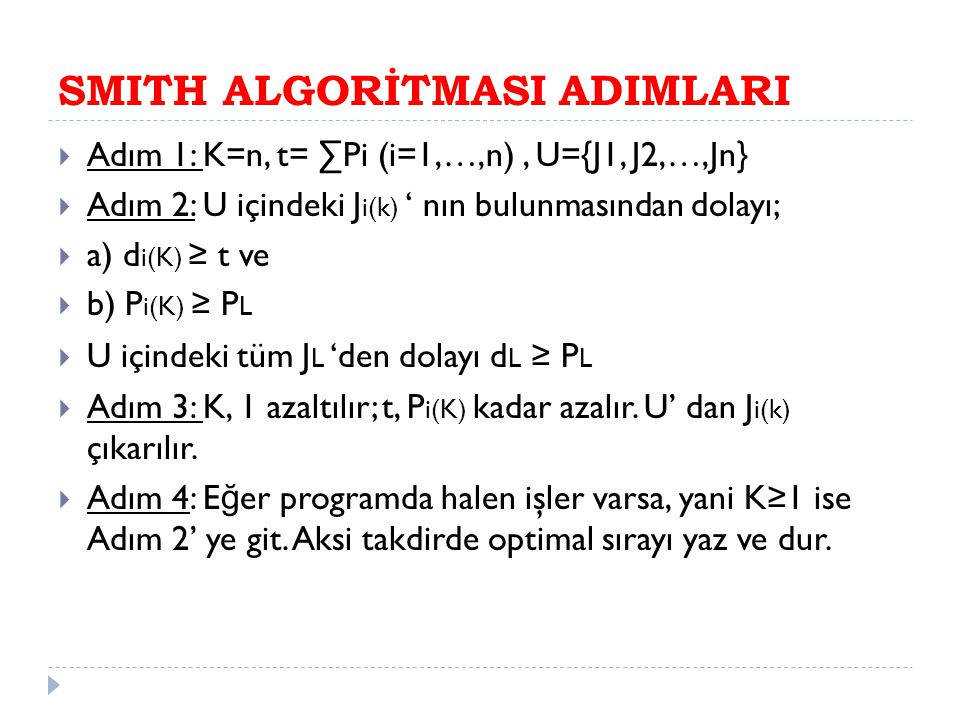 SMITH ALGORİTMASI ADIMLARI
