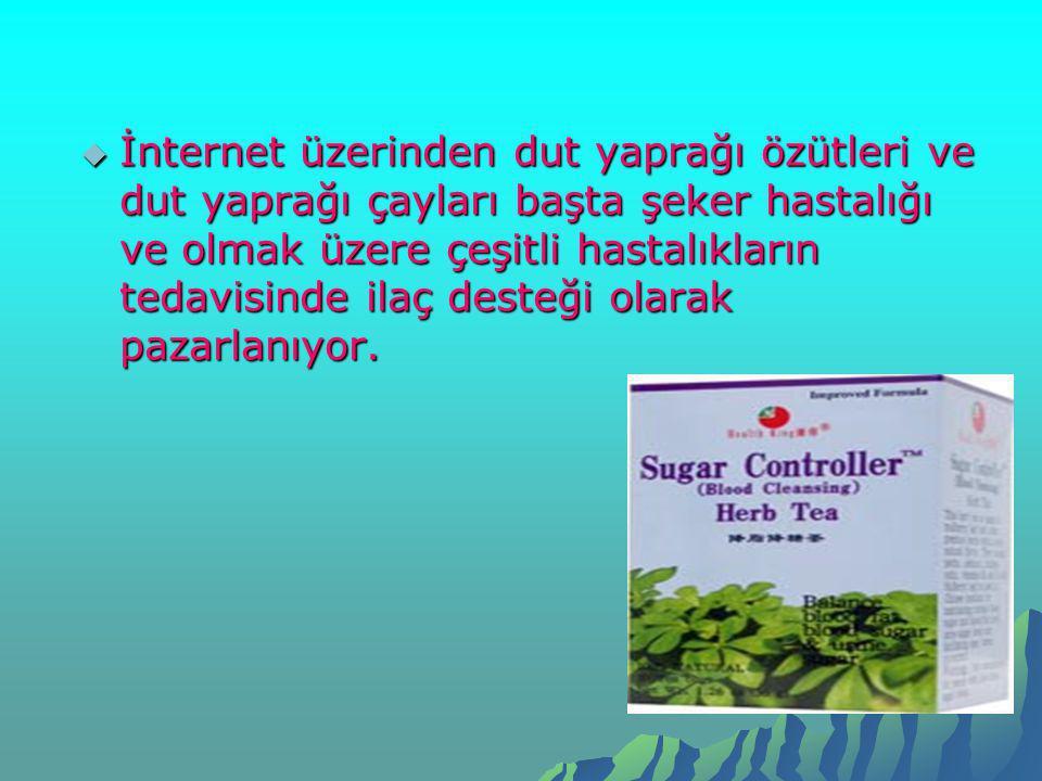 İnternet üzerinden dut yaprağı özütleri ve dut yaprağı çayları başta şeker hastalığı ve olmak üzere çeşitli hastalıkların tedavisinde ilaç desteği olarak pazarlanıyor.