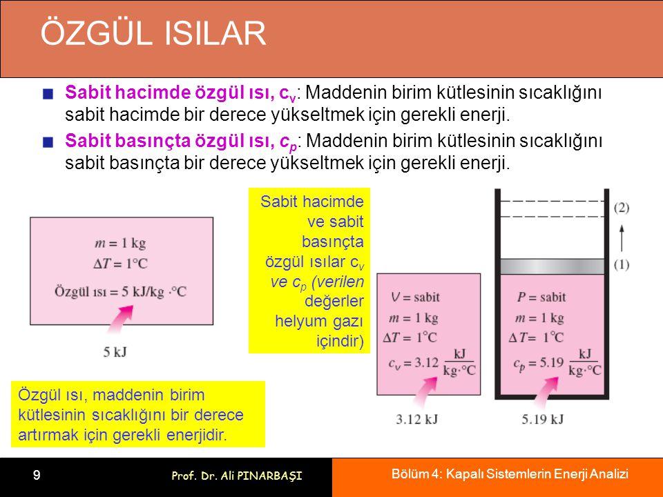 ÖZGÜL ISILAR Sabit hacimde özgül ısı, cv: Maddenin birim kütlesinin sıcaklığını sabit hacimde bir derece yükseltmek için gerekli enerji.