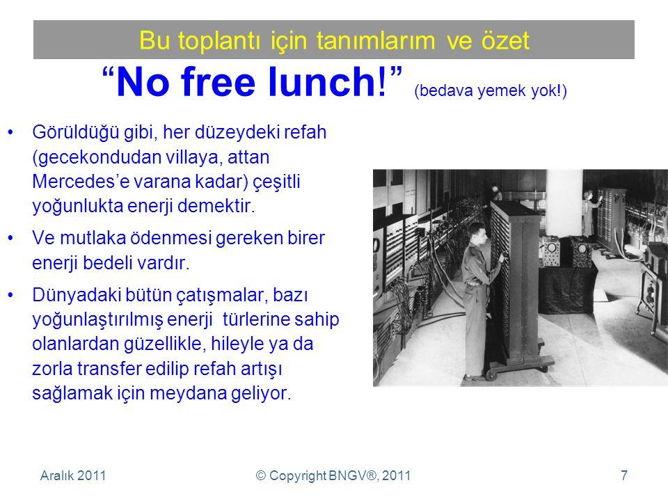 No free lunch! (bedava yemek yok!)