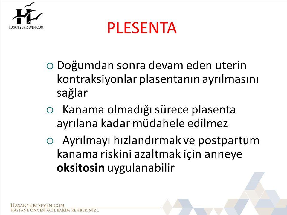PLESENTA Doğumdan sonra devam eden uterin kontraksiyonlar plasentanın ayrılmasını sağlar.