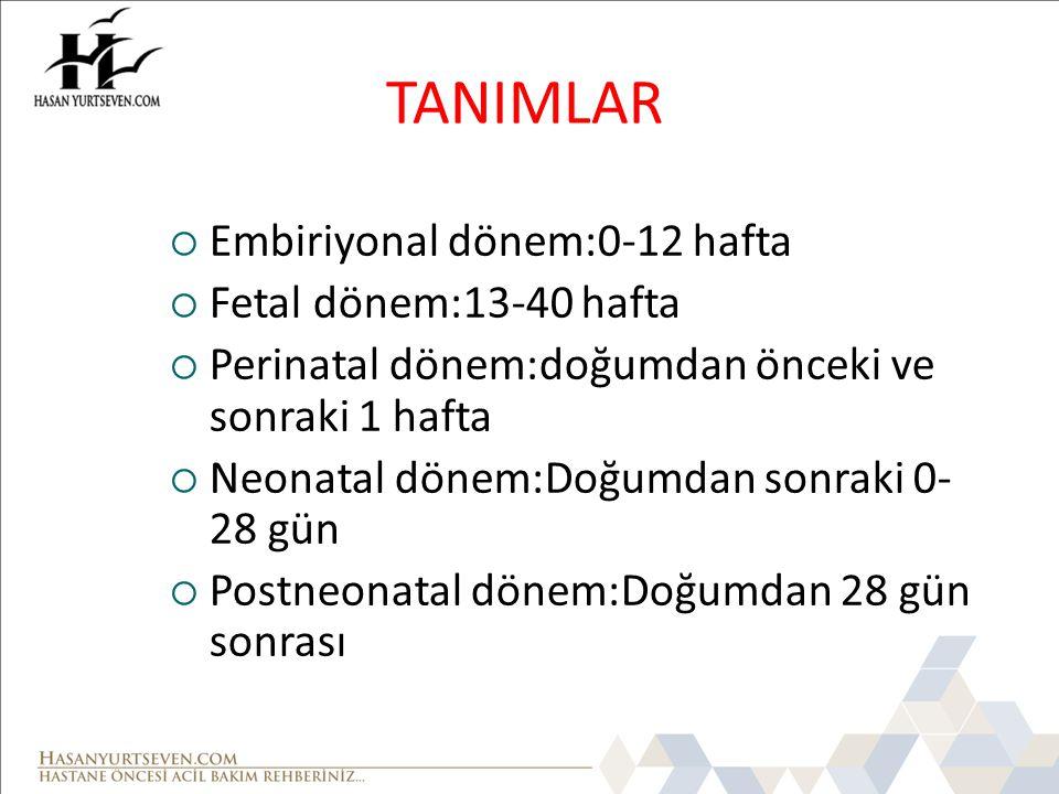 TANIMLAR Embiriyonal dönem:0-12 hafta Fetal dönem:13-40 hafta