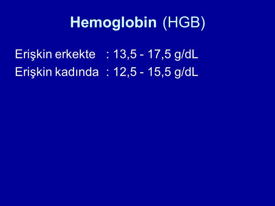 Hemoglobin (HGB) Erişkin erkekte : 13,5 - 17,5 g/dL