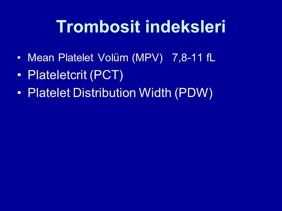 Trombosit indeksleri Plateletcrit (PCT)