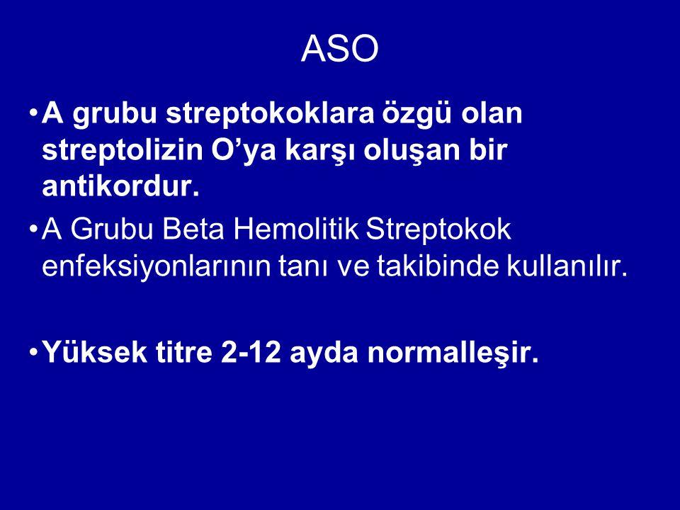 ASO A grubu streptokoklara özgü olan streptolizin O'ya karşı oluşan bir antikordur.