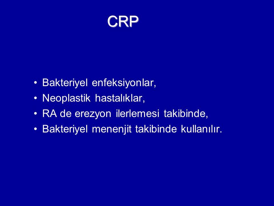CRP Bakteriyel enfeksiyonlar, Neoplastik hastalıklar,