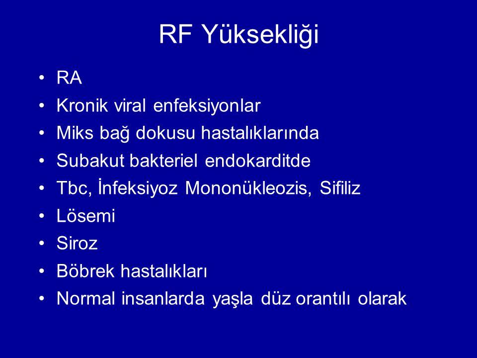 RF Yüksekliği RA Kronik viral enfeksiyonlar