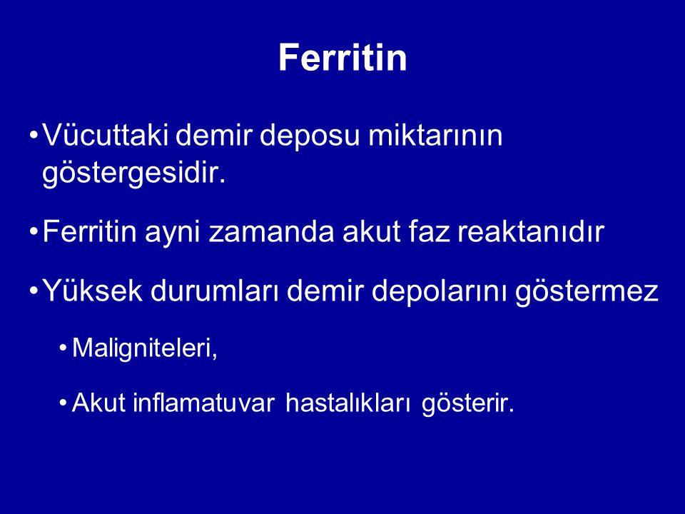 Ferritin Vücuttaki demir deposu miktarının göstergesidir.