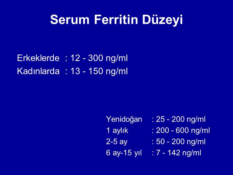 Serum Ferritin Düzeyi Erkeklerde : 12 - 300 ng/ml