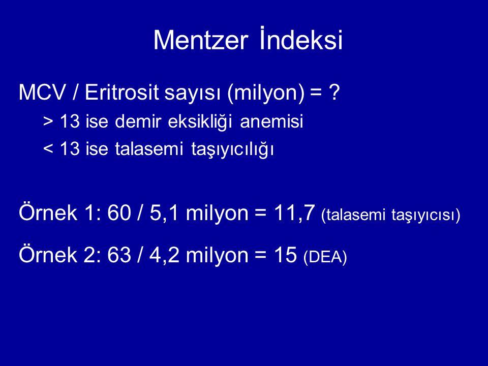 Mentzer İndeksi MCV / Eritrosit sayısı (milyon) =