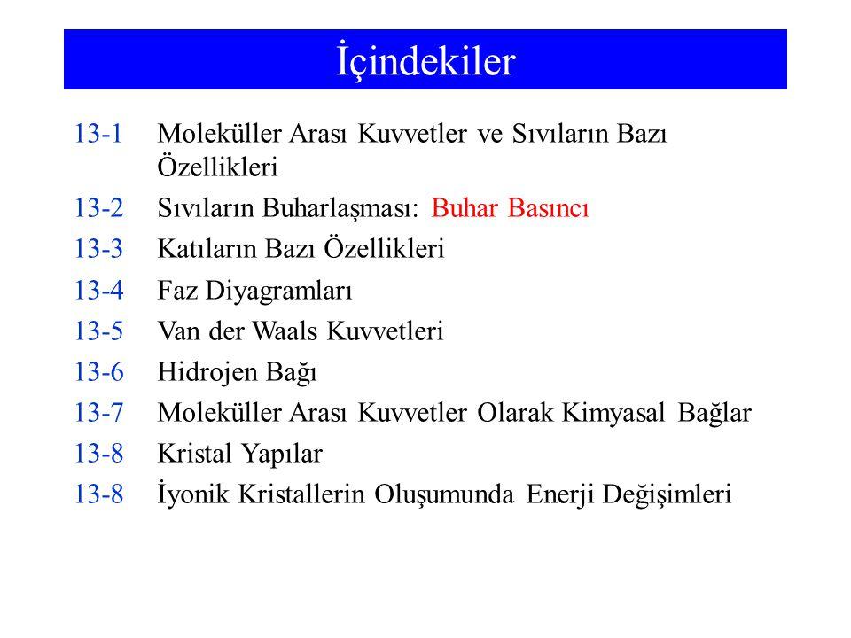 İçindekiler 13-1 Moleküller Arası Kuvvetler ve Sıvıların Bazı Özellikleri. 13-2 Sıvıların Buharlaşması: Buhar Basıncı.