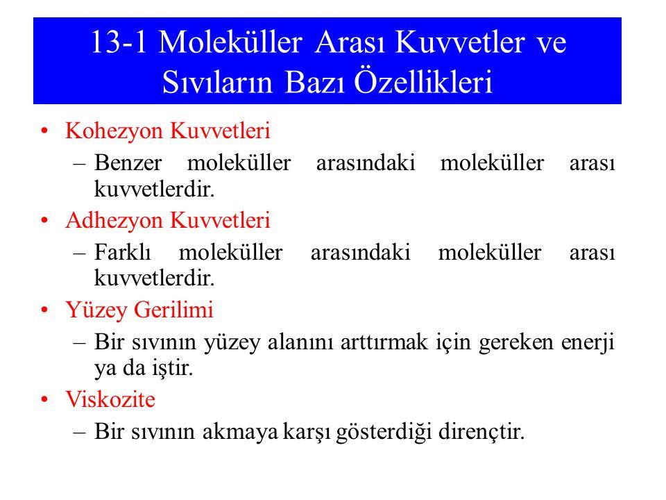 13-1 Moleküller Arası Kuvvetler ve Sıvıların Bazı Özellikleri