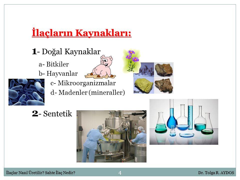 1- Doğal Kaynaklar 2- Sentetik İlaçların Kaynakları: a- Bitkiler