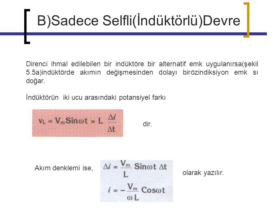 B)Sadece Selfli(İndüktörlü)Devre