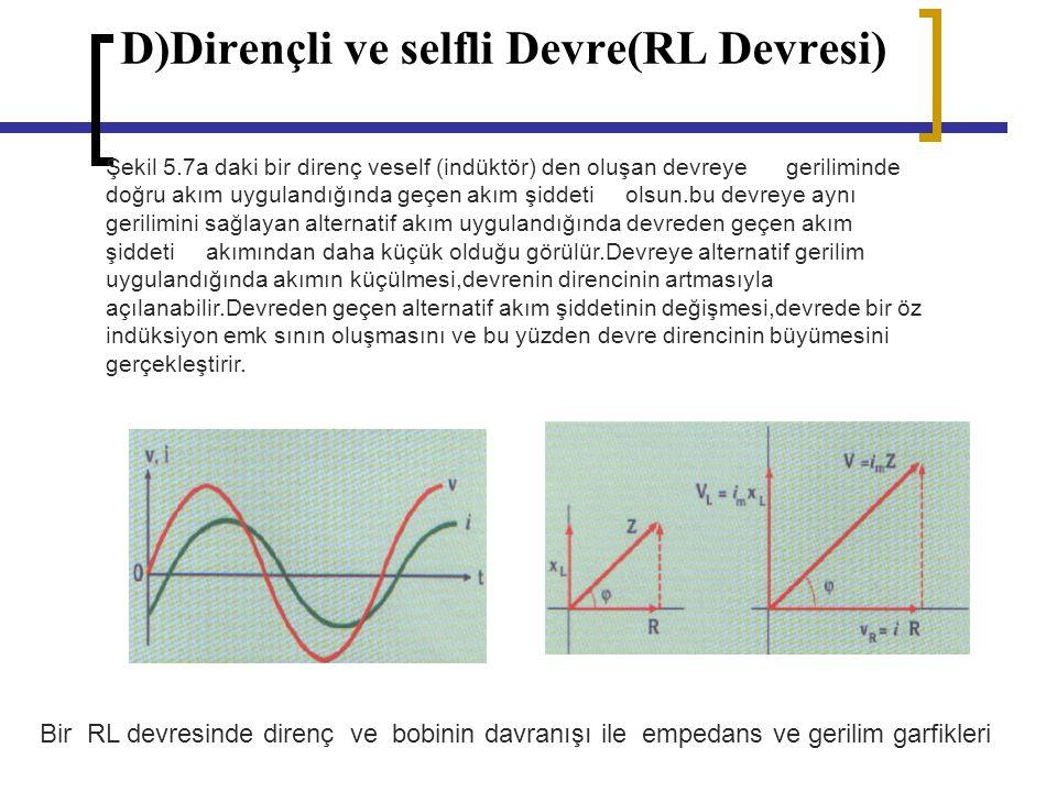 D)Dirençli ve selfli Devre(RL Devresi)