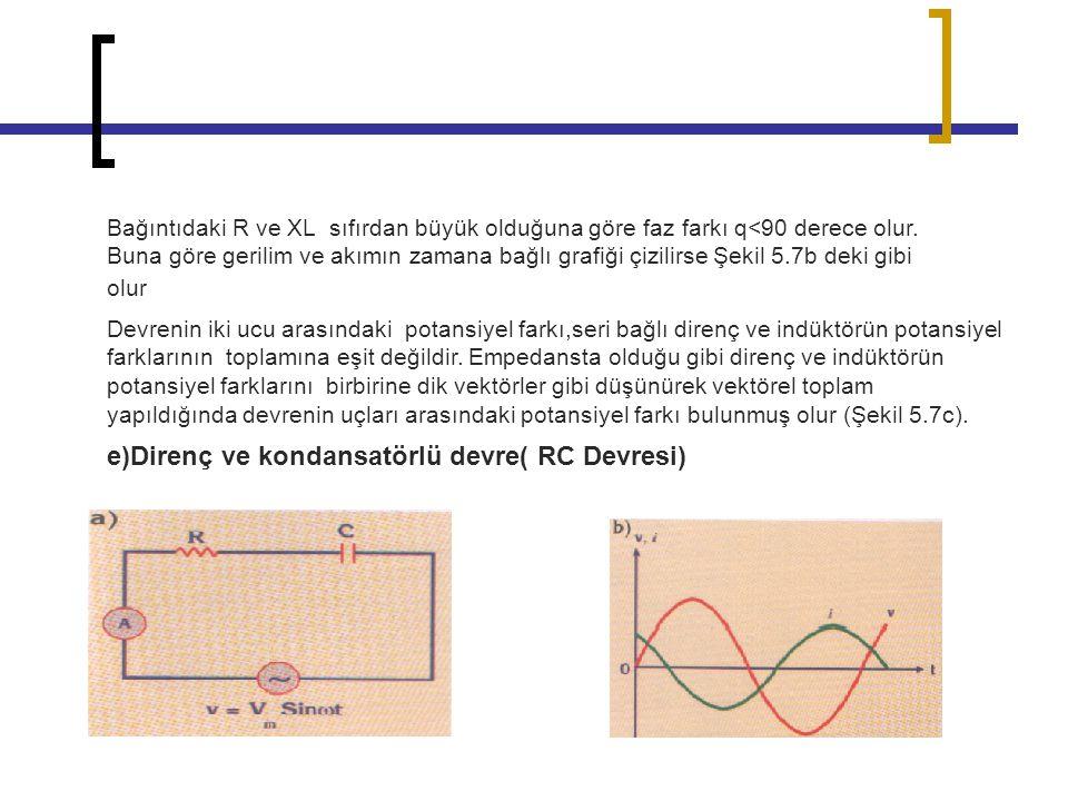 e)Direnç ve kondansatörlü devre( RC Devresi)