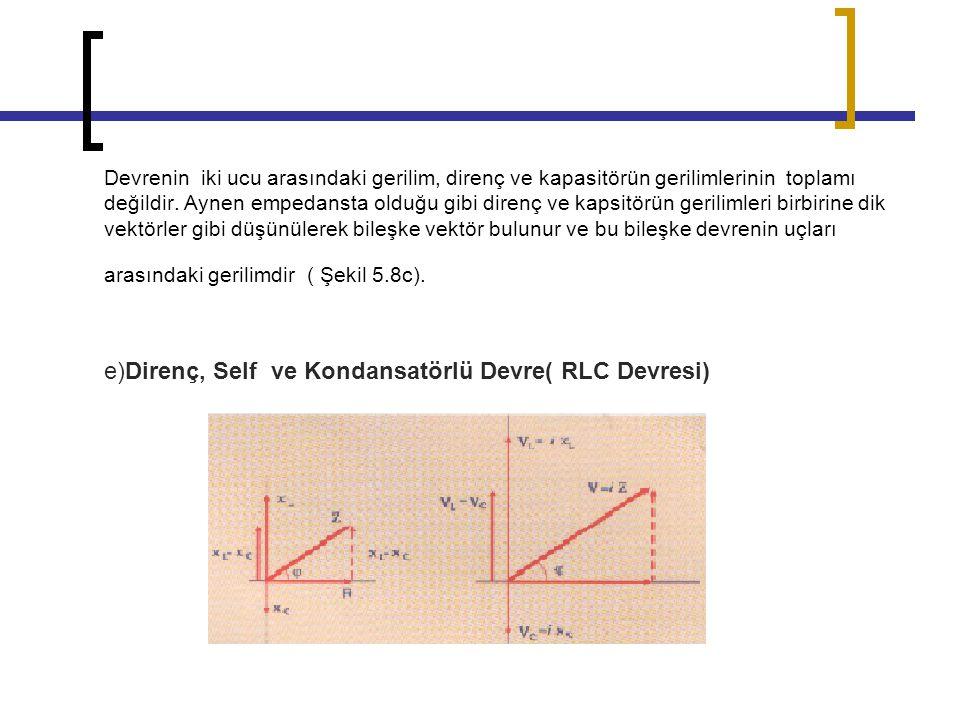 e)Direnç, Self ve Kondansatörlü Devre( RLC Devresi)
