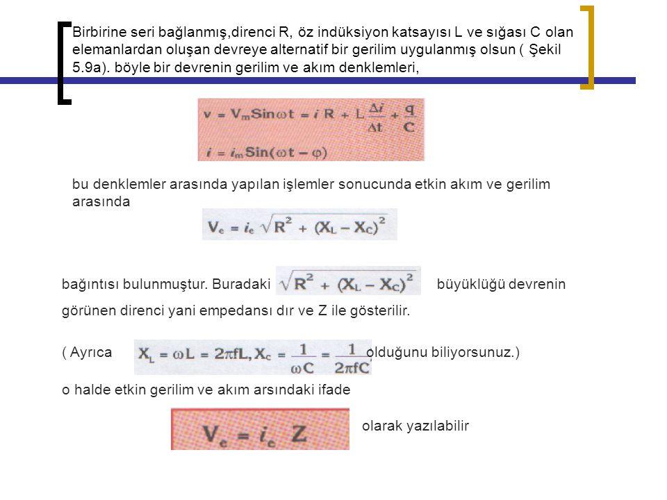 Birbirine seri bağlanmış,direnci R, öz indüksiyon katsayısı L ve sığası C olan elemanlardan oluşan devreye alternatif bir gerilim uygulanmış olsun ( Şekil 5.9a). böyle bir devrenin gerilim ve akım denklemleri,
