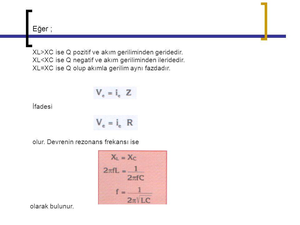 Eğer ; XL>XC ise Q pozitif ve akım geriliminden geridedir.