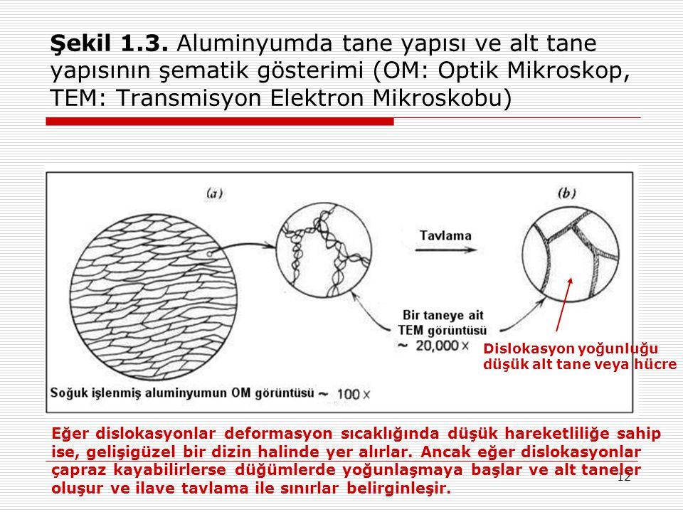 Şekil 1.3. Aluminyumda tane yapısı ve alt tane yapısının şematik gösterimi (OM: Optik Mikroskop, TEM: Transmisyon Elektron Mikroskobu)