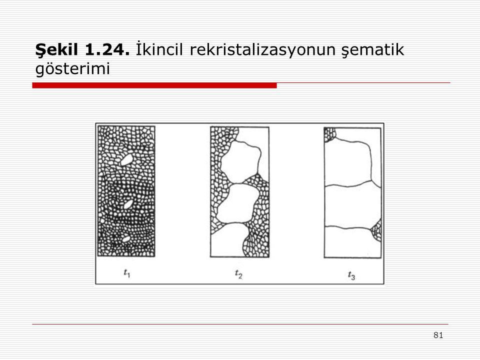 Şekil 1.24. İkincil rekristalizasyonun şematik gösterimi