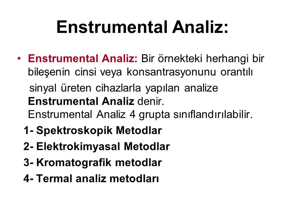 Enstrumental Analiz: Enstrumental Analiz: Bir örnekteki herhangi bir bileşenin cinsi veya konsantrasyonunu orantılı.