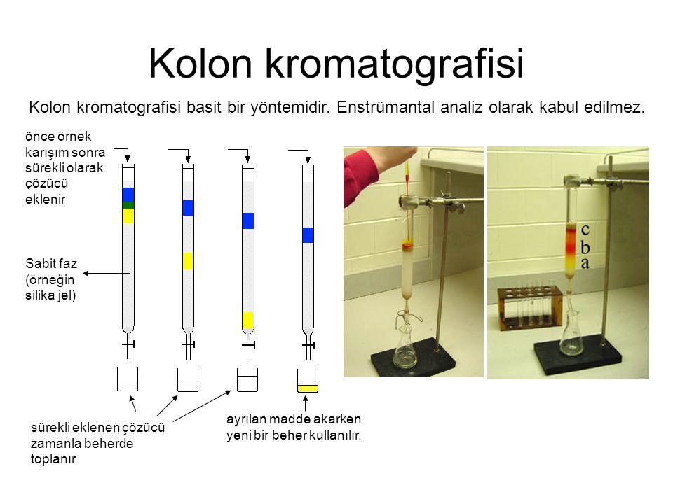 Kolon kromatografisi Kolon kromatografisi basit bir yöntemidir. Enstrümantal analiz olarak kabul edilmez.