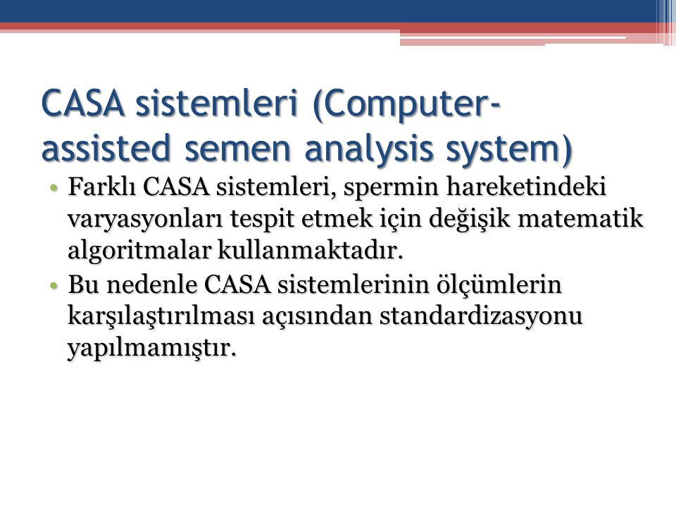 CASA sistemleri (Computer-assisted semen analysis system)