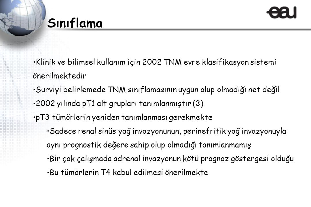 Sınıflama Klinik ve bilimsel kullanım için 2002 TNM evre klasifikasyon sistemi önerilmektedir.