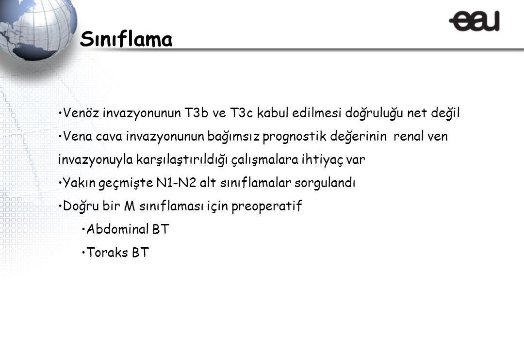 Sınıflama Venöz invazyonunun T3b ve T3c kabul edilmesi doğruluğu net değil.