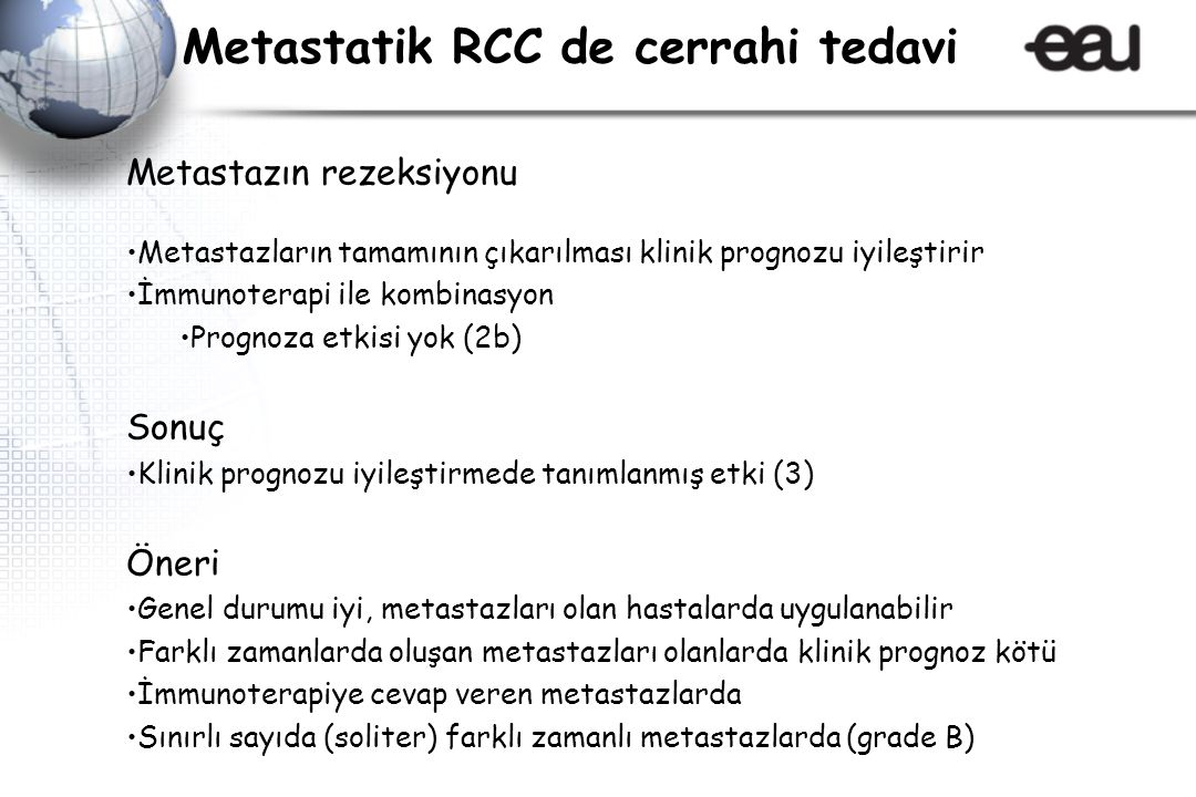 Metastatik RCC de cerrahi tedavi